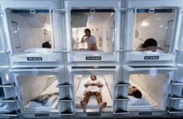 stacked rooms in a capsule hotel