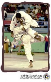 This picture features the final of the 60 Kg Cuban Open 2001. Manolo Poulet CUB attacks Marvyn Morejon CUB on his way to taking the title.